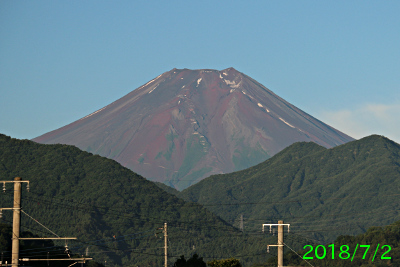 2018年7月2日の富士山写真